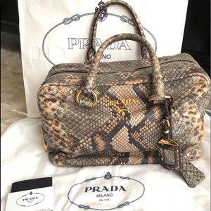 Authentic Prada Natural Snake Print Cervo Luxe Bag